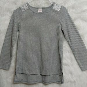 Other - JILLIANS CLOSET Sparkly Gray Lace Long Sleeve Top